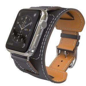 Accessories - Leather Apple Watch Black Double Cuff Band